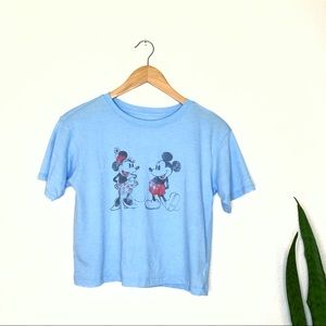 Disney | Mickey Minnie Blue Cropped Tee Medium